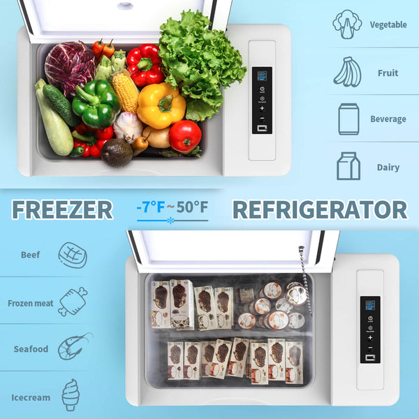 Camping Fridge/Freezer 23 Quart 12V Portable Car Freezer with Compressor,-7℉~50℉ Travel Home Use