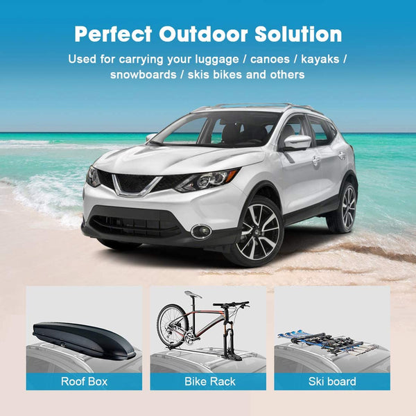 2014-2019 Nissan Rogue with Side Rails Aluminum Roof Rack Cross Bars - BougeRV