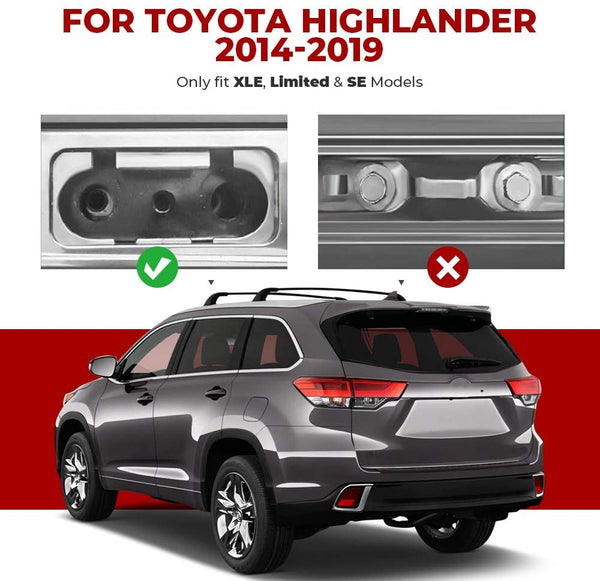2014-2019 Toyota Highlander with Side Rails Aluminum Roof Rack Cross Bars