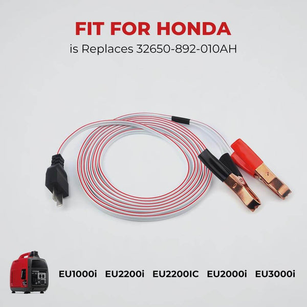 Generator DC Charging Cables 16AWG with 2X 20A Pure Copper Alligators 10 FT for Honda EU1000i EU2000i EU3000i - BougeRV