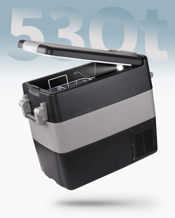 Car Refrigerator 53 Quart 12V/24V DC 110~240Volt AC Outdoor Travel Home use,-4℉~50℉ Black - BougeRV