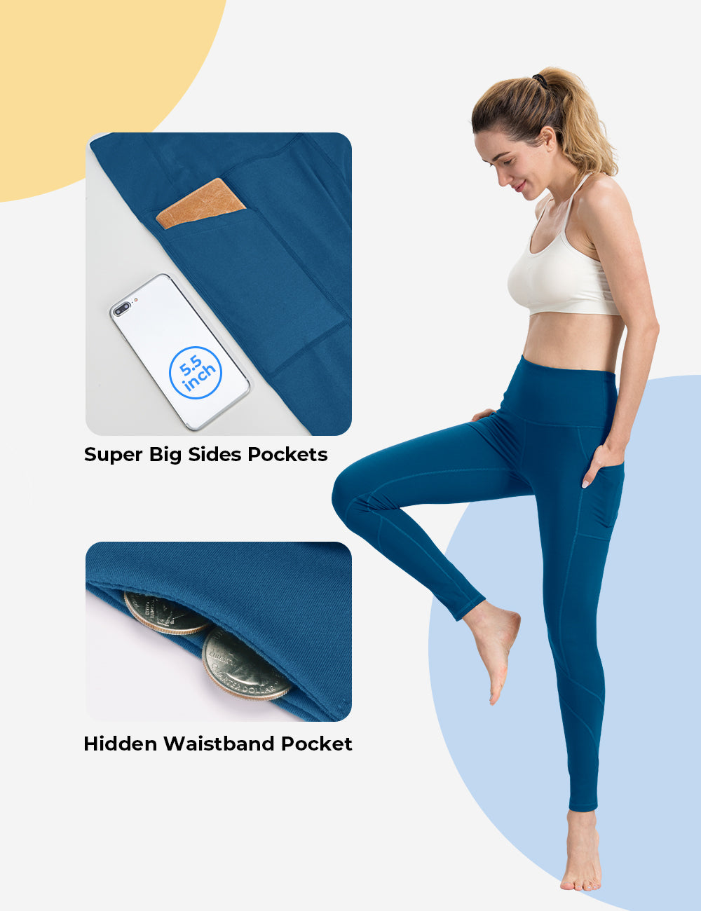 Classic Blue Yoga pants with pockets - ALONGFIT