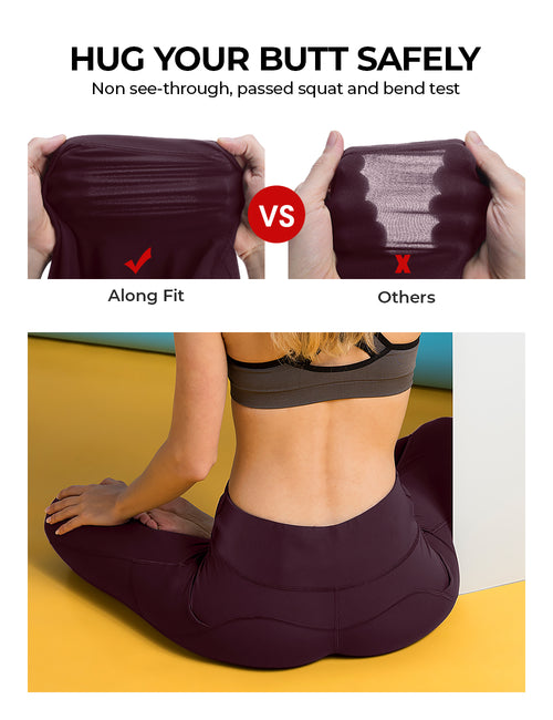 Burgundy Yoga Pants - ALONGFIT