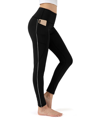 Ribbon black full length yoga pants - ALONGFIT