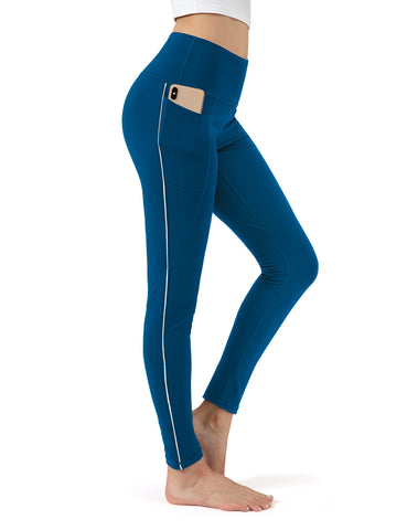 Peacock blue full length yoga pants - ALONGFIT