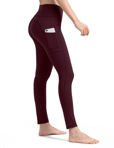 burgundy yoga pants with pockets - ALONGFIT