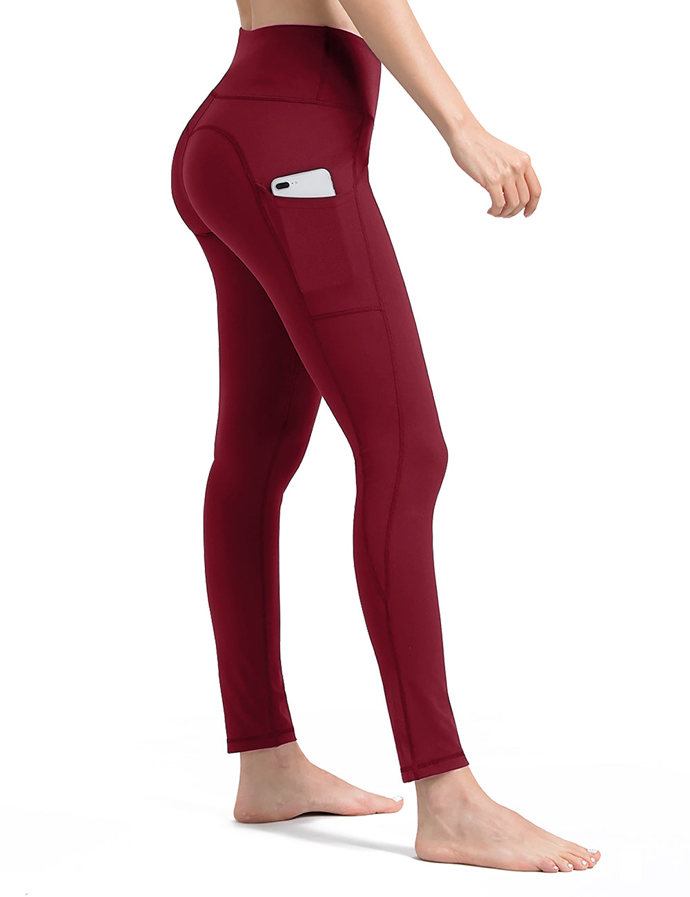 Red yoga pants with pockets - ALONGFIT
