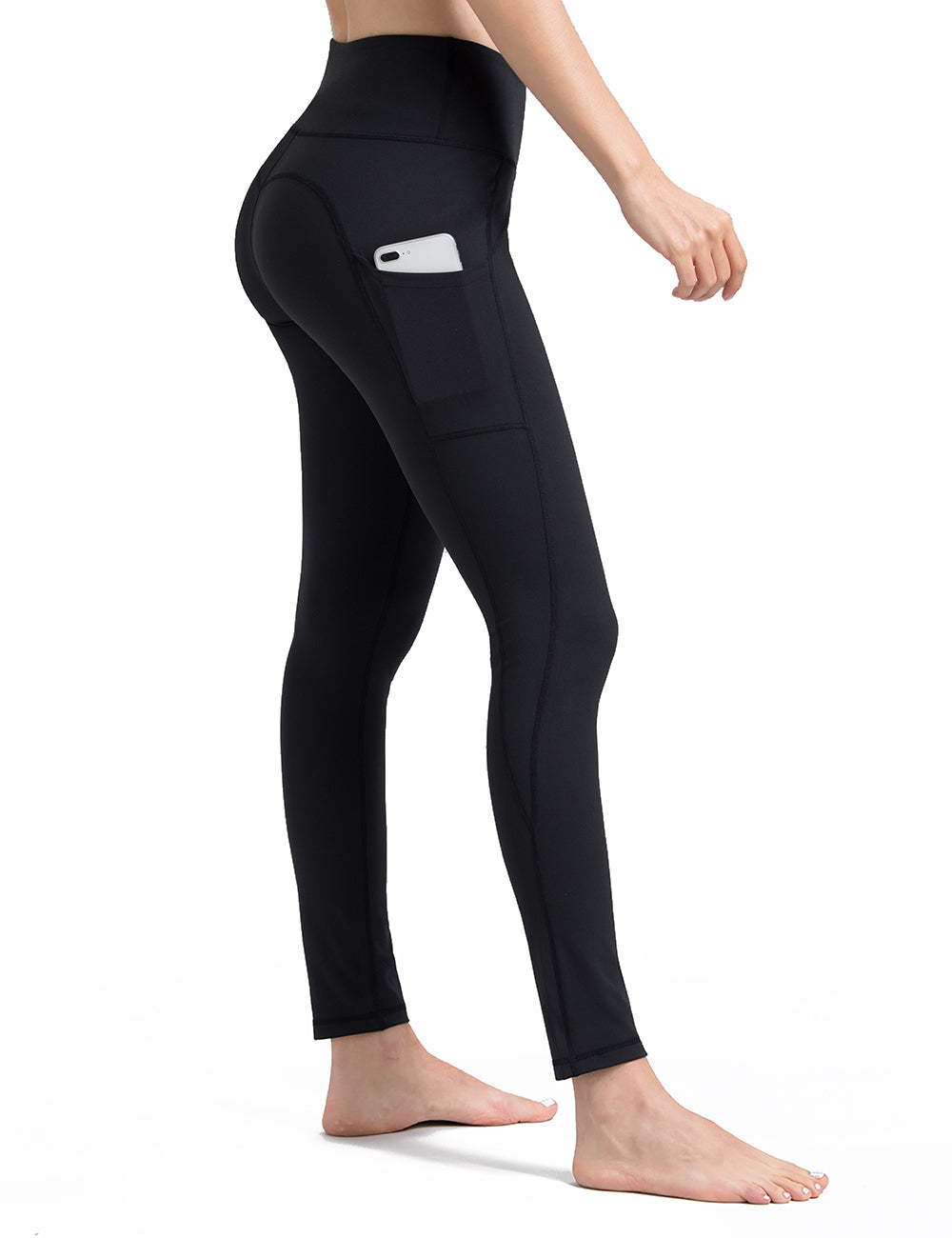 Black yoga pants with pockets - ALONGFIT