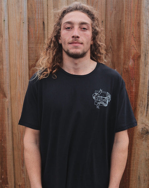TR7 Black Short Sleeve Organic by Whitelands - TR7 SKATE | LOCAL SKATE SHOP IN NEWQUAY | SKATER OWNED