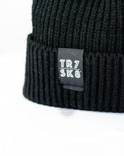 TR7 Ribbed Beanie -Black - TR7 SKATE | LOCAL SKATE SHOP IN NEWQUAY | SKATER OWNED