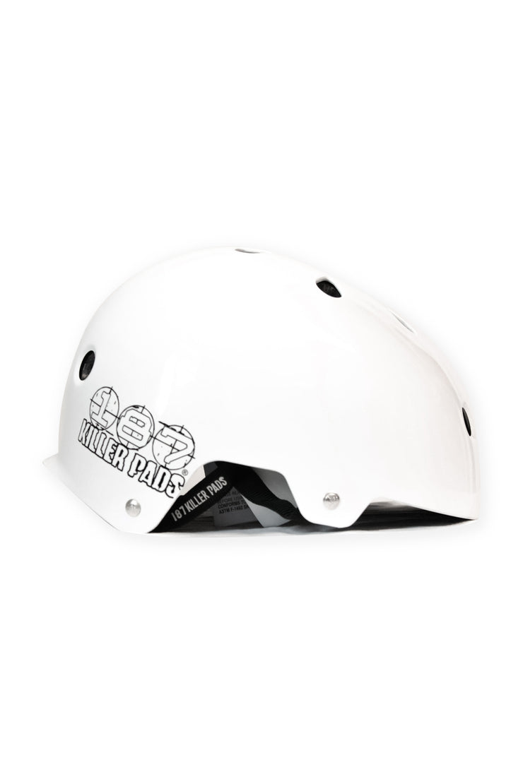 187 Killer Pads Certified Helmet - Gloss White - TR7 SKATE | LOCAL SKATE SHOP IN NEWQUAY | SKATER OWNED