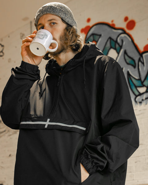 TR7 Black Kernow Waterproof Pullover - TR7 SKATE | LOCAL SKATE SHOP IN NEWQUAY | SKATER OWNED