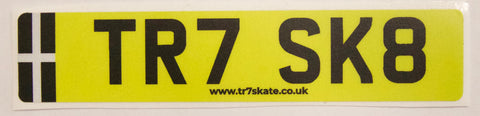 TR7 SK8 reflective number plate sticker - TR7 SKATE | LOCAL SKATE SHOP IN NEWQUAY | SKATER OWNED