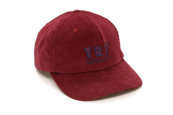 TR7 Burgundy Corduroy Cap - TR7 SKATE | LOCAL SKATE SHOP IN NEWQUAY | SKATER OWNED
