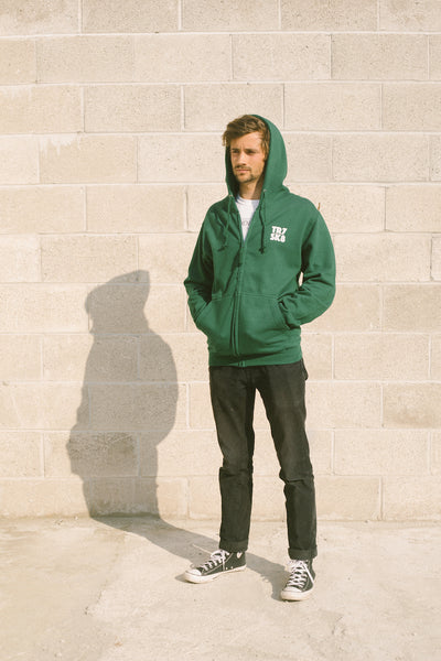 TR7 SK8 Green Zip Up Hoodie for Men/Women - TR7 SKATE | LOCAL SKATE SHOP IN NEWQUAY | SKATER OWNED