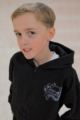 TR7 Kids Black Zip Up Hoodie by Whitelands - TR7 SKATE | LOCAL SKATE SHOP IN NEWQUAY | SKATER OWNED