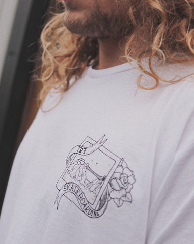 TR7 White Short Sleeve Organic by Whitelands - TR7 SKATE | LOCAL SKATE SHOP IN NEWQUAY | SKATER OWNED