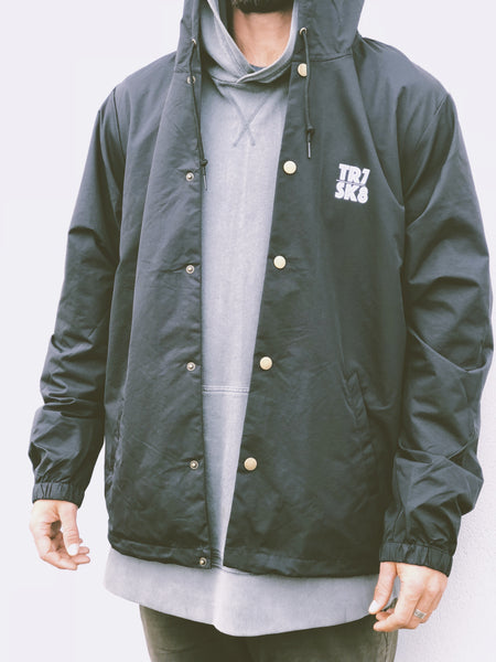 TR7 Black Waterproof Windbreaker - TR7 SKATE | LOCAL SKATE SHOP IN NEWQUAY | SKATER OWNED