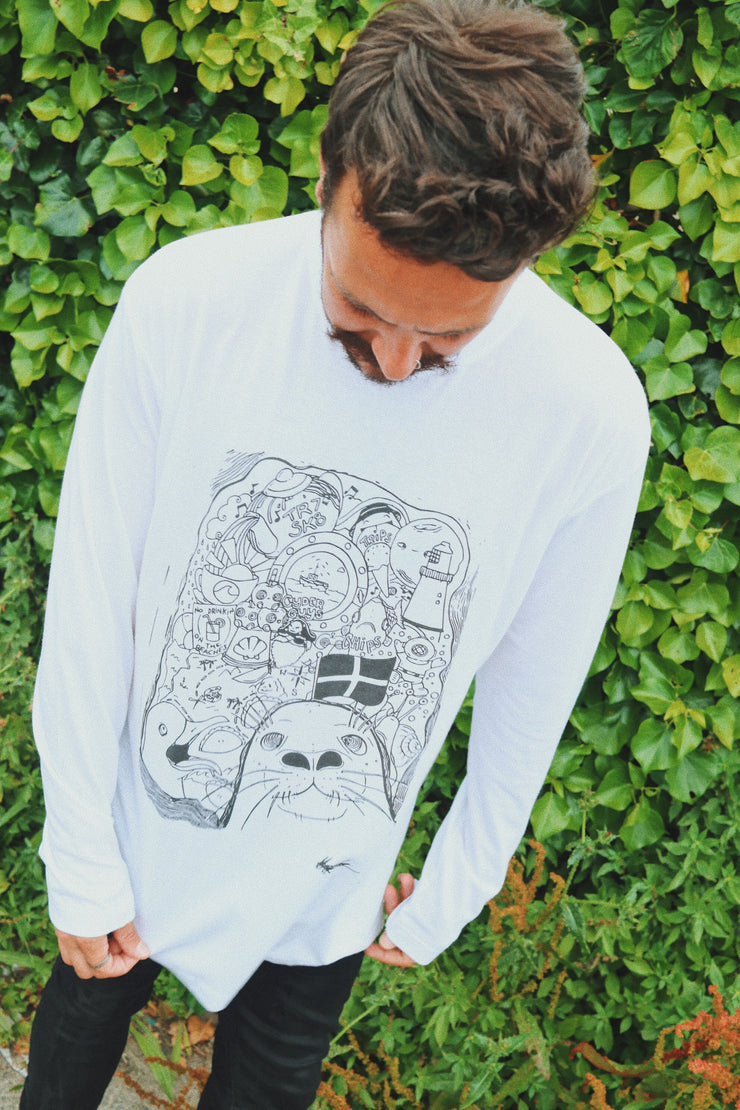 TR7 Cornish Life White Long Sleeve Tee for Men/Women - TR7 SKATE | LOCAL SKATE SHOP IN NEWQUAY | SKATER OWNED