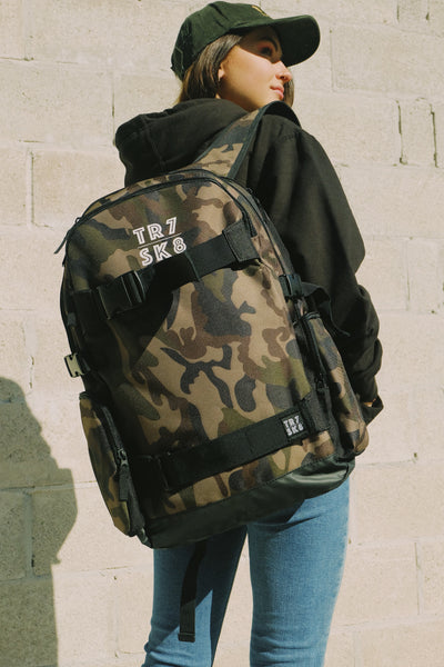 TR7 Skate Backpack Camouflage - TR7 SKATE | LOCAL SKATE SHOP IN NEWQUAY | SKATER OWNED