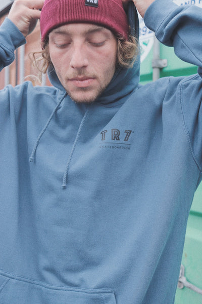 TR7 SK8 Classic Hoodie - Blue - Unisex - TR7 SKATE | LOCAL SKATE SHOP IN NEWQUAY | SKATER OWNED