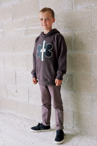 TR7 Classic Kids Hoodie Grey - TR7 SKATE | LOCAL SKATE SHOP IN NEWQUAY | SKATER OWNED