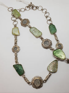 836488abc009c3 ANCIENT BIBLICAL COINS WITH ANCIENT ROMAN GLASS SET IN SILVER NECKLACE AND  BRACELET