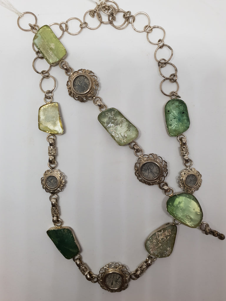 a679e56ffbc886 ... ANCIENT BIBLICAL COINS WITH ANCIENT ROMAN GLASS SET IN SILVER NECKLACE  AND BRACELET ...