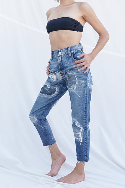 0018 High Rise Cropped Leg Remade Jean