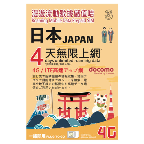 JAPAN roaming mobile data prepaid sim for 4 days