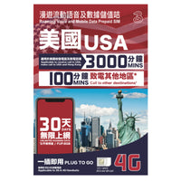 USA Roaming with Voice and mobile data for 30 days