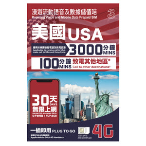 USA Roaming mobile data prepaid sim for 30 days