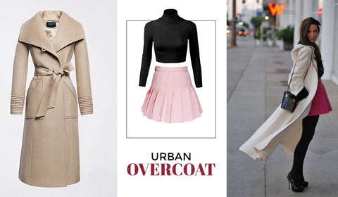 Pleated Skirt Paired With Long Over Coat
