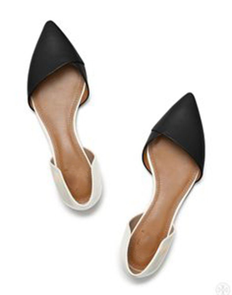 Empower In White Black Ballet Flats