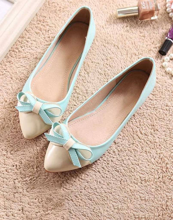 Off White Mint Green Ballet Flats