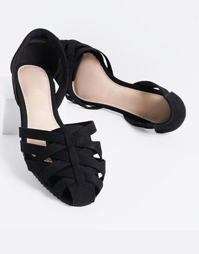 Caged Black Flats