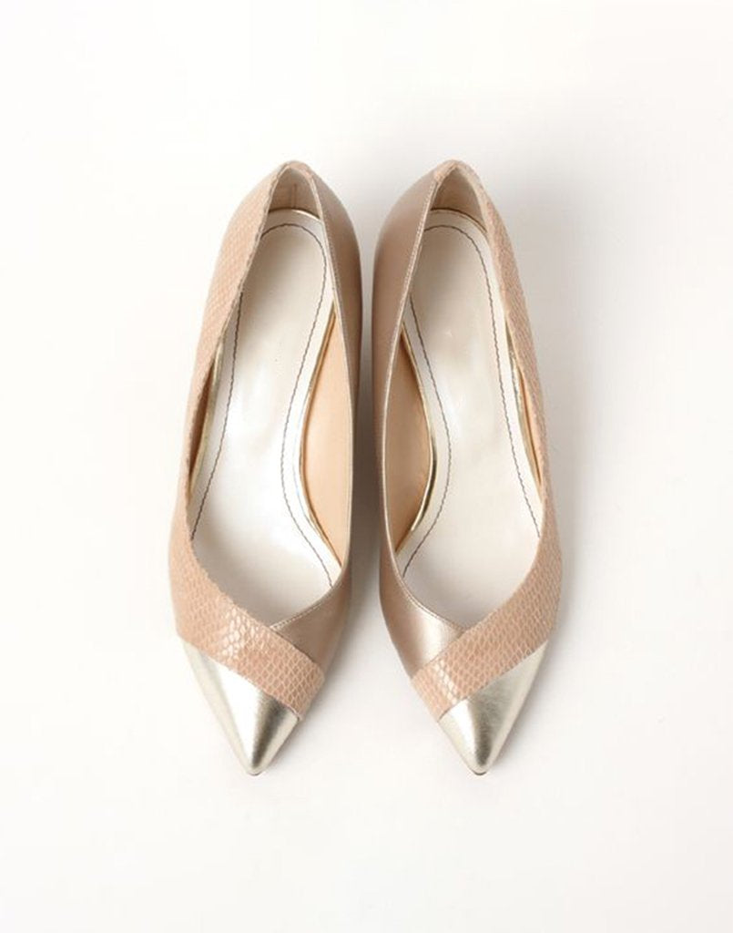 Metallic Rose Gold Textured Ballet Flats