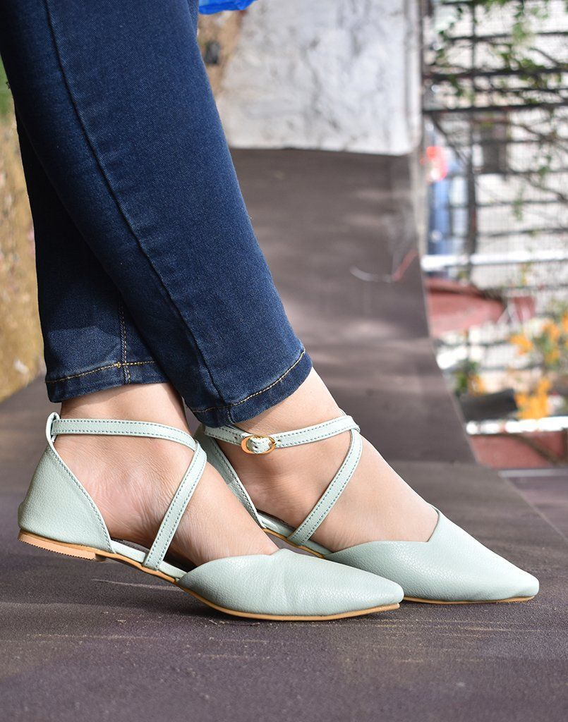 Light Aqua Cross-Strapped Ballerina