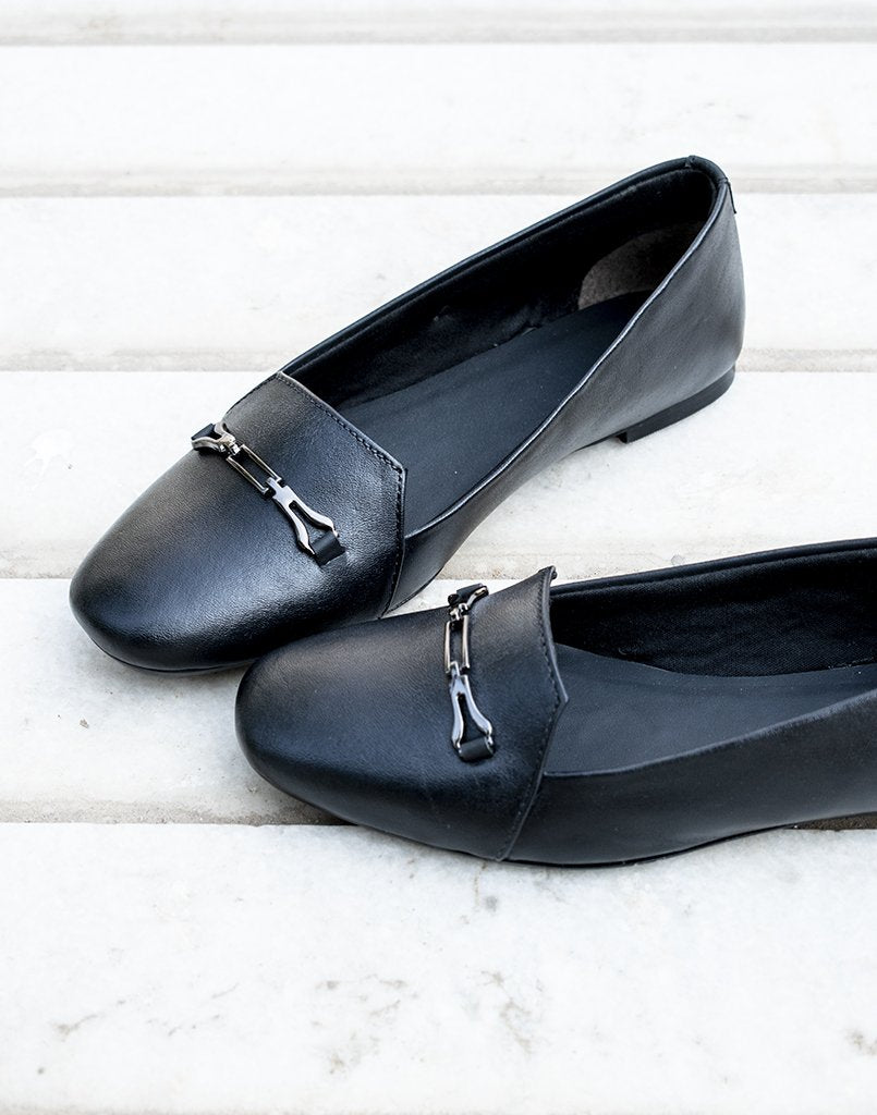 Dark Metallic Black Flats