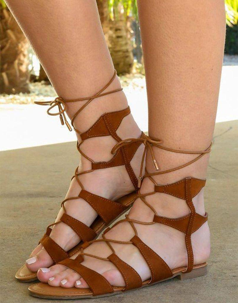 Criss Cross Brown Gladiator Flats