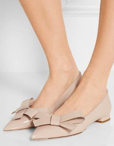 Beige Pointed Toe Bow Flats