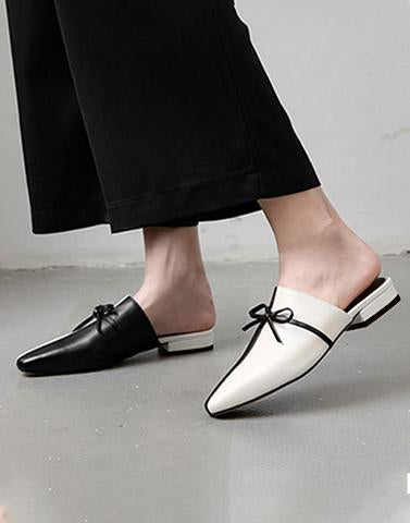 Black And White Bow Flats