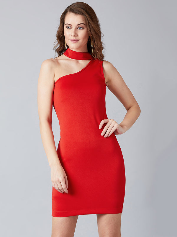 Choker Neck Blazing Red Dress