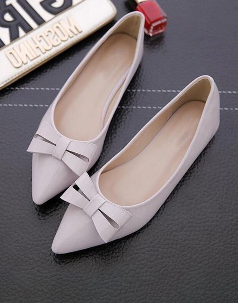 Take Away Bow Grey Ballerinas