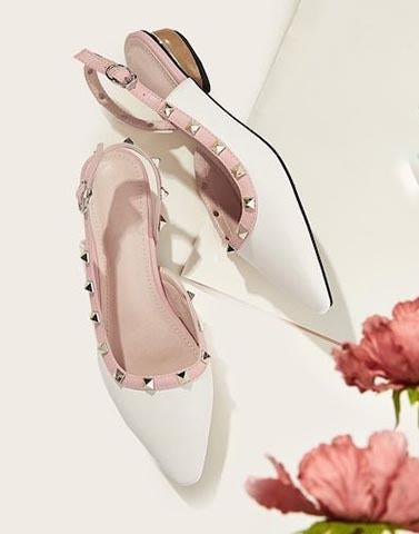 White And Pink Sophisticated Flats