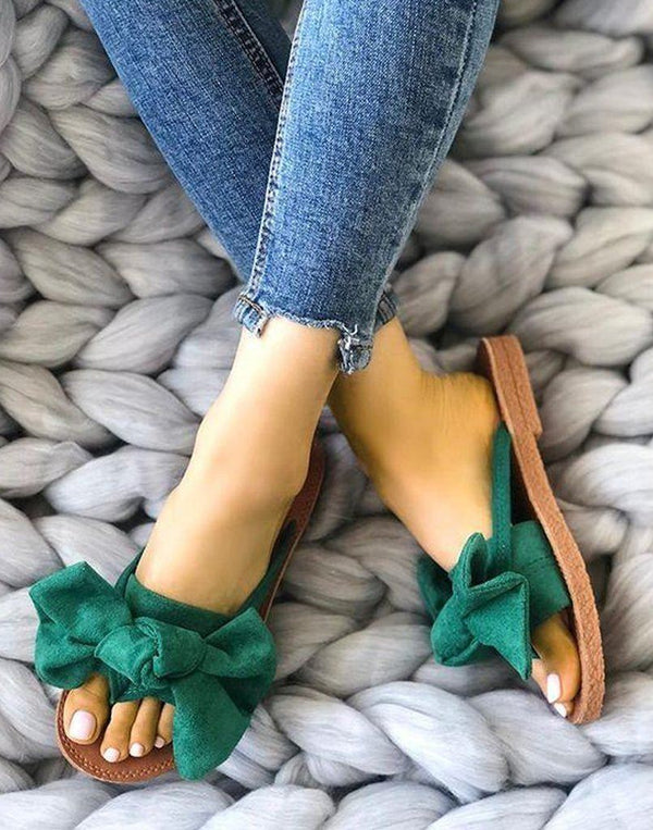 Cute Bow Green Flats