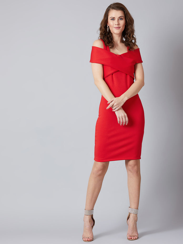 Elegant Ruby Cold Shoulder Dress