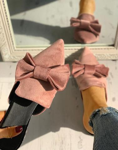 Pink Bow Suede Bae Mules