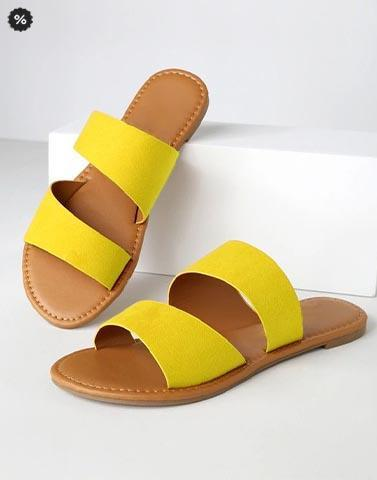 Simple Yellow Casual Slip Ons