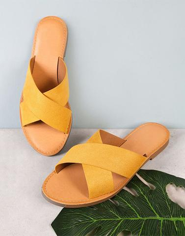 Mustard Cross Over Flats